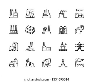 Factory line icons. Industry power, chemical manufacturing building warehouse nuclear energy plant. Industrial factories vector set