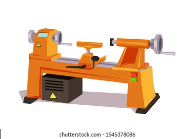 Factory machine flat vector illustration. Manufacturing equipment isolated clipart on white background. Metalworking robotic tool. Industrial machinery. Automotive electric enginery