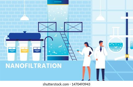 Factory Nanofiltration System. Cartoon Scientists Team Test Nanofilter Work Results Drinking Purified Water. Future Technologies in Aqua Treatment and Purification. Vector Flat Illustration