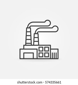 Factory outline icon - vector thin line power station concept symbol or logo element