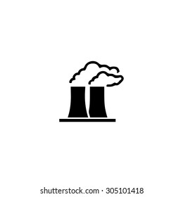Factory or plant. Black simple vector icon