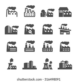factory plant building icon set, vector eps10.