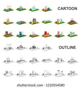 Factory and plant cartoon icons in set collection for design. Production and enterprise vector isometric symbol stock web illustration.