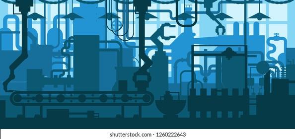 Factory plant conveyor line production development industrial interior design flat background concept illustration