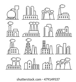 Factory and plant thin line vector icons. Industrial building for production and manufacture illustration