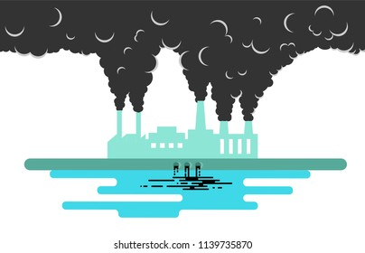 Factory Polluting the Environment Flat Style. Harmful destructive human activity concept.