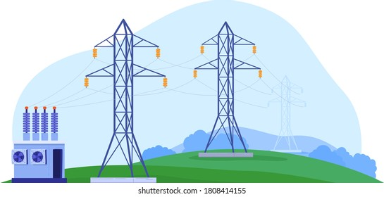 Factory power, electricity transmission, high voltage, danger to life, design cartoon style vector illustration, isolated on white. Clean environment, transformer station, high-voltage towers.