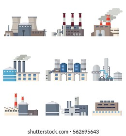 Factory and power station icons set in flat style. Elements of the urban landscape.