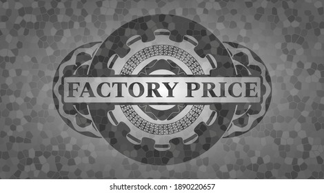 Factory Price text inside stone wall realistic badge. Rock graceful background. Intense illustration.