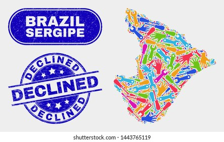 Factory Sergipe State map and blue Declined distress seal. Colored vector Sergipe State map mosaic of tools items. Blue round Declined seal.