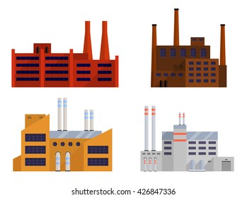 Factory set isolated on white background. Factory icon in the flat style. Industrial factory building. Factory concept. Manufacturing power factory building. Vector illustration.