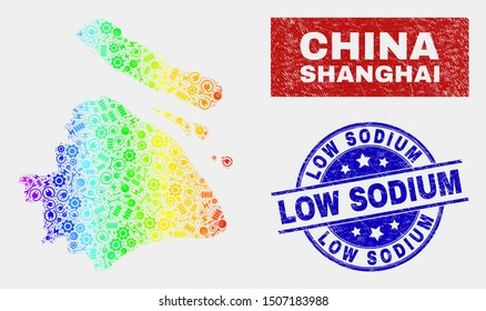 Factory Shanghai City map and blue Low Sodium textured seal. Spectrum gradiented vector Shanghai City map mosaic of machinery units. Blue rounded Low Sodium seal.