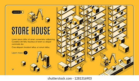 Factory or shop automated storehouse, delivery service sorting, logistics center isometric vector web banner, landing page. Robotic hands taking boxes from conveyor, loading goods on rack illustration