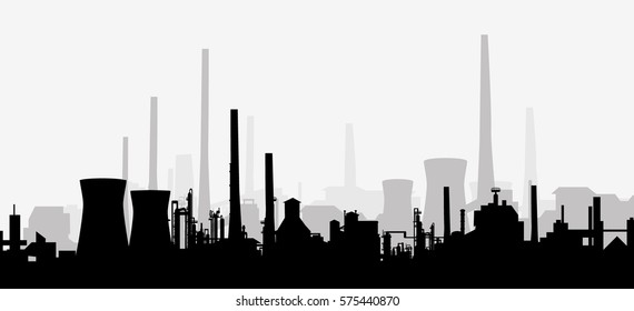 Factory Silhouette - Vector