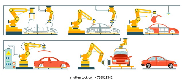 Factory with smart robotic automotive assembly line. Modern engineering systems, automobile production line, car manufacturing process. Conveyor for assembly of cars vector illustration in flat style