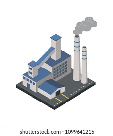 Factory with smoke pipes isometric 3D element. Heavy industry architecture, engineering and manufacturing, environmental pollution vector illustration.
