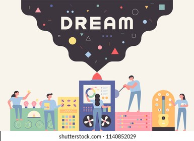 Factory and staff making a dream concept illustration. flat design style vector graphic illustration set