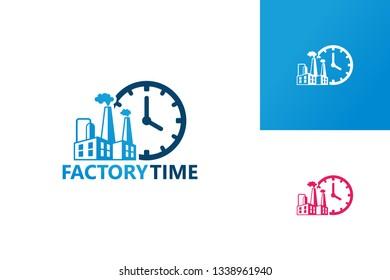 Factory Time Logo Template Design Vector, Emblem, Design Concept, Creative Symbol, Icon