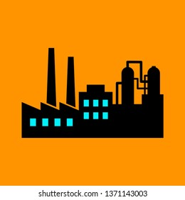 Factory vector icon on orange background