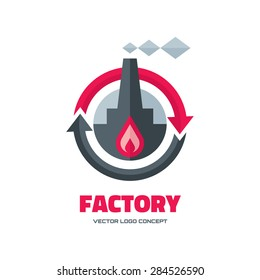2cb938bce Factory - vector logo template concept illustration in flat style for  business company. Industrial plant