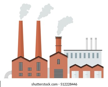 Factory vector - old brick industrial architecture vector illustration.