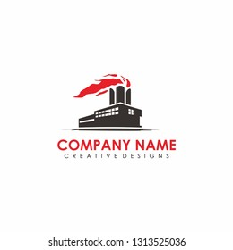 factory warehouse hall industry logo design vector illustration