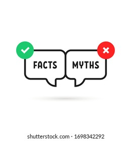 facts vs myths icon like instant message. concept of red and green x and checkmark or true or false and yes or no symbol. flat outline trend modern logotype graphic design isolated on white background