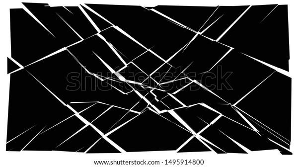 Facture, crack element. Shatter, broken surface texture. Grungy design. Decay, burst splinters illustration