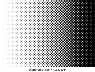 Fade Halftone Background. Distressed Dotted Backdrop. Grunge Points Texture. Gradient Black and White Pattern. Vector illustration
