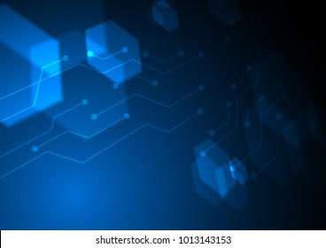 Faded blue hexagon with circuit lines Vector technology background