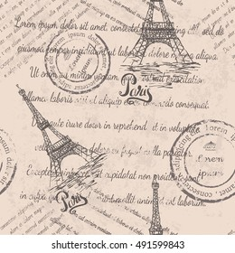 Faded text, stamps, Eiffel Tower, lettering Paris, seamless pattern on beige background