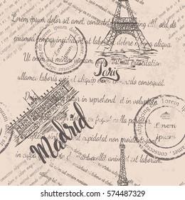 Faded text, stamps, Eiffel Tower, lettering Paris, Royal Palace of Madrid, lettering Madrid, seamless pattern on beige background