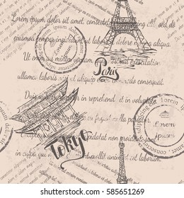 Faded text, stamps, Eiffel Tower, lettering Paris, Tokyo label with hand drawn temple Senso-ji, lettering Tokyo, seamless pattern on beige background