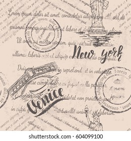Faded text, stamps and the Statue of Liberty with lettering New york, hand drawn the Rialto Bridge, lettering Venice, seamless pattern on beige background