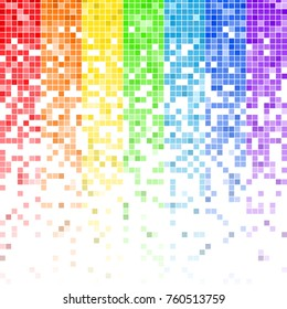Fading colorful rainbow pixel pattern. Colorful gradient pixel background. Vector illustration for your graphic design.