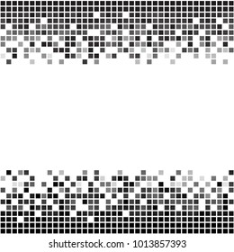 Fading greyscale border pixel pattern. Black and white pixel background. Vector illustration for your graphic design.