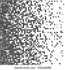 Fading pixel pattern. Black and white pixel background. Vector illustration for your graphic design.
