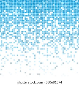 Fading pixel pattern. Blue and white pixel background. Vector illustration for your graphic design.Vector illustration for your graphic design.