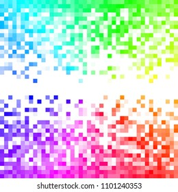 Fading rainbow pixel pattern. Colorful and bright pixel background. Vector illustration for your graphic design.