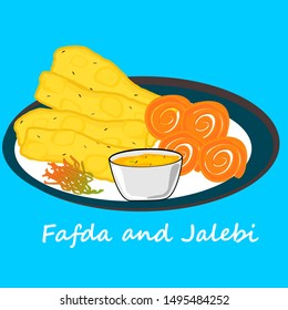 Fafda Jalebi Gujrati india... Food with Text Vector