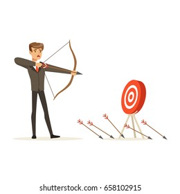 Faiiled businessman with bow and arrow is aiming at target, unsuccessful character vector Illustration
