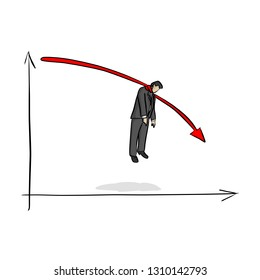 fail businessman hanging on red graph going down vector illustration with black lines isolated on white background. Business crisis concept.