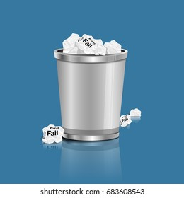 Fail - Crumpled paper can recycle was thrown to metal basket bin. Overflowing waste paper in office garbage bin. Junk, wastepaper in rubbish isolated on blue background, vector illustration.