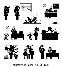 Fail work from home mom or mother. Vector illustrations of the difficulty of a mommy working at home because of the distraction from her baby or child.