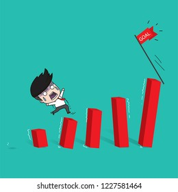 Failed businesses, Businessman walking on unstable graph. Flat Vector Illustration,