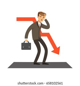 Failed businessman and red graph going down, unsuccessful character vector Illustration