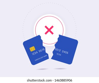 Failed payment, declined transaction, invalid purchase. Broken credit card with cross cancel sign flat design.
