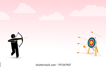 Failing to hit the target. Vector illustration depicts failure, inaccurate, missing. Man trying to shoot arrows with bow to hit the bullseye but failed miserably. Isolated on a light pink background