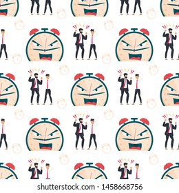 Failure Deadline Seamless Pattern. Angry Boss Yelling at Sad Depressed Male Employee. Furious Alarm Clock Metaphor Face. Scolding for Missed Work. Repeated Vector Illustration. Endless Flat Cartoon