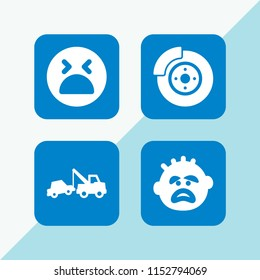 failure icon. 4 failure set with brake, breakdown and desperate vector icons for web and mobile app